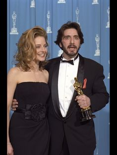 """Al Pacino - Best Actor Oscar for """"Scent of a Woman"""" 1992, with presenter Jodie Foster."""