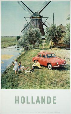 Gezin aan het picknicken, 1959, affiche Hollande, ANVV, drukkerij: N.V. Vada, Groningen