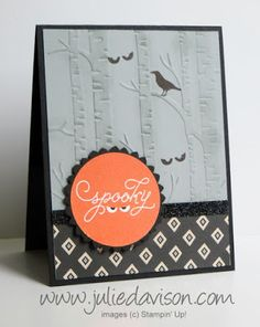 Stampin' Up! Among the Branches Halloween Card with Woodland Embossing Folder #halloween #stampinup www.juliedavison.com