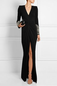 Alexander McQueen | Embellished stretch-crepe gown | NET-A-PORTER.COM