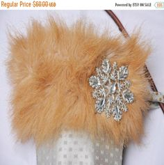 ON SALE Faux Fur Jeweled Cavalier Christmas Stocking by buydanusha