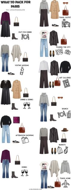 Are you are trying to decide what to pack for Paris? Looking for some packing inspiration? This Paris packing list might give you some ideas for building your Paris capsule wardrobe, so you will look like you were born there. Paris Packing, Fall Packing, Packing Light, Vacation Packing, Paris Travel, Travel Packing, France Outfits, Paris Outfits, Black Leather Skirts