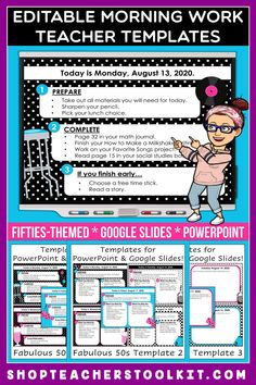 These fabulous fifties-themed Editable PowerPoint and Google Slides Teacher Templates include space to type the day and date, reminders of what to do when entering the classroom, as well as 'must do' and 'may do' assignments. Remind your students of their morning assignments during arrival time by displaying them on your whiteboard or SMARTBoard. #teachertemplates #morningarrivalinstructions #editable #powerpoint #googleslides #funthemes #fabulousfifties #fifties #50s