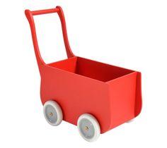 Red retro wooden doll stroller | Houten poppenwagen rood by Petite Amélie