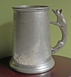 Antique Pewter Beer Mug with Fox Handle. English Pewter Beer Jug. Collectible Pewter Jug by Sheffield. by AnythingDiscovered on Etsy