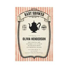 Vintage Baby Shower Tea Party Invitations by UniqueInvites