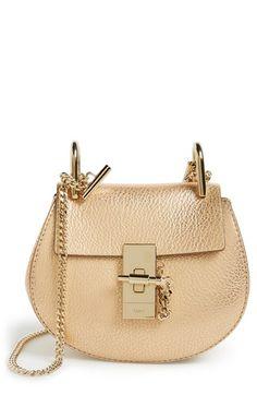CHLOÉ 'Nano Drew' Metallic Leather Shoulder Bag. #chloé #bags #shoulder bags #hand bags #suede #metallic