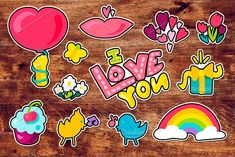 Romantic Love Patches Set by barsrsind on @creativemarket