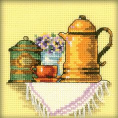 """A Cup Of Coffee In The Morning Counted Cross Stitch Kit-4""""X4"""" 14 Count"""