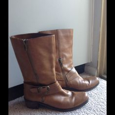 Camel color boots Real leather boots with zippers and buckle. Great color & condition. Camel/Carmel? Very comfortable. Lots of life left. Nicole Shoes Combat & Moto Boots
