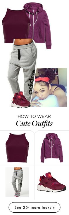 """Cute Workout Outfit"" by siniababy on Polyvore featuring H&M and adidas"