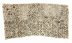 """Pygmy Barkcloth Pongo Mbuti People, Ituri Forest DR Congo 20th century Beaten bark from ficus tree, stamped and drawn with natural pigment 32 3/4"""" x 17""""    83 x 43 cm"""