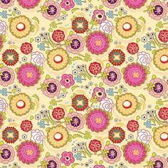 DAZZLED-POPPIN BLOSSUMS - MULTI ON YELLOW - ADORNIT 100% COTTON FABRIC in Crafts, Sewing & Fabric, Fabric   eBay