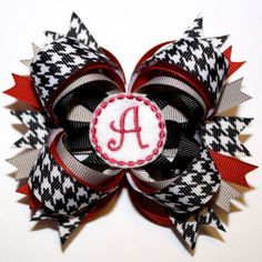 Alabama houndstooth hair bow