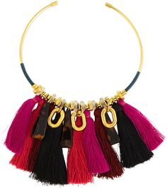 Lizzie Fortunato Crimson Tassel Collar Necklace, Black/Fuchsia