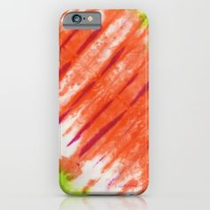 Pleated and Laced iPhone & iPod Case by Vikki Salmela, original #tie #dye #Bohemian #Indonesian #art in #mango #lime, on #fashion #tech #accessory #iPhone #iPhone6 #phone #cases for #travel #school #home #office or fun #gift.