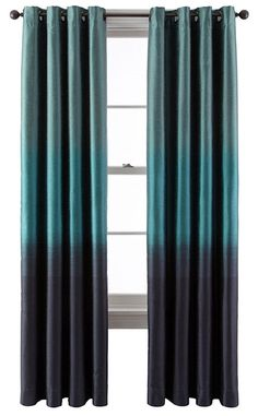 This Teal Dylan Ombré Grommet Top Curtain Panel