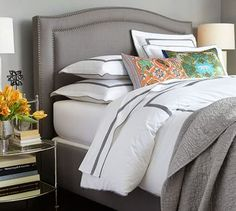 Tamsen Curved Upholstered Bed & Headboard   Pottery Barn