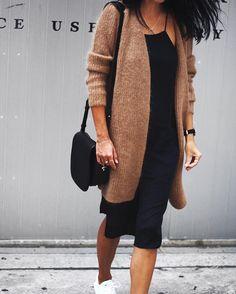 """✌️ // @cosstores camel cardi, #aninebing slip dress, @veja kicks ✔️"""