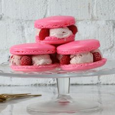 Strawberry Macaron Ice Cream Sandwich