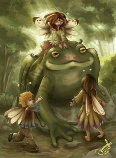 Fairies and frogs make the best of friends.