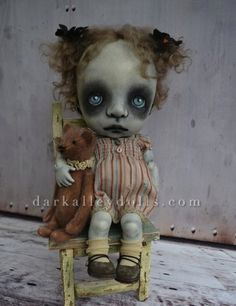 BJD Toddler Girl with a Teddy Bear. Gothic Art Doll.