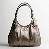 Coach Leather Madison Leather Maggie Shoulder bag.  Black with gold (not the gunmetal shown here).  $358