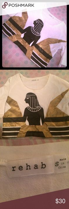Rehab Egyptian Crop Top Egyptian Graphic Crop Top made by Rehab. Never worn. Great Condition. rehab Tops Crop Tops