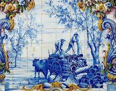 CARREGO DA CORTIÇA NO MONTADO. Painel de azulejos da Estação da CP de Santiago de Cacém. Learn Portuguese, Portuguese Culture, Portuguese Tiles, Tile Murals, Tile Art, Glazed Ceramic Tile, Tile Panels, Antique Tiles, Blue Tiles
