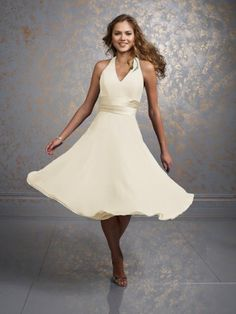 Rehearsal dress?   (FITS0242127 )2012 Style A-line Halter  Ruffles  Sleeveless Knee-length  Chiffon Cocktail Dress / Homecoming Dress