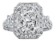 Engagement Ring - Radiant Cut Diamond Engagement Ring Brilliant Trapezoid Side Stones Engraved Pave Band - ES1207RA