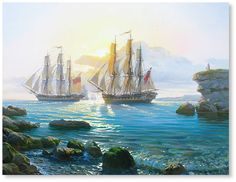 """Shenderov Alexander """"Morning. Ships are coming out of the bay"""" canvas, oil 23.6""""x31.5"""", 2015"""