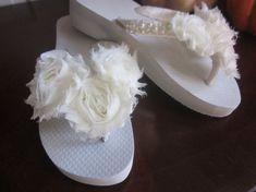 Wedding Flip Flops for Bride. Ivory Flip Flops. by RocktheFlops, $39.00