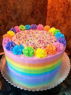 Neon Birthday Cakes, Round Birthday Cakes, Birthday Cake Girls, Rainbow Birthday, Neon Cakes, Pastel Cakes, Colorful Cakes, Bolo My Little Pony, Bolo Neon