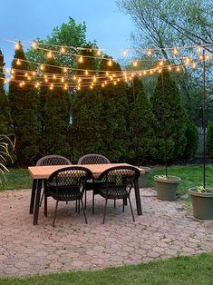 DIY Patio Arbor Using String Lights arbor of string lights over the patio, garden ideas Outdoor Patio Designs, Diy Patio, Outdoor Projects, Backyard Patio, Backyard Landscaping, Patio Ideas, Porch Ideas, Backyard Ideas, Diy Projects