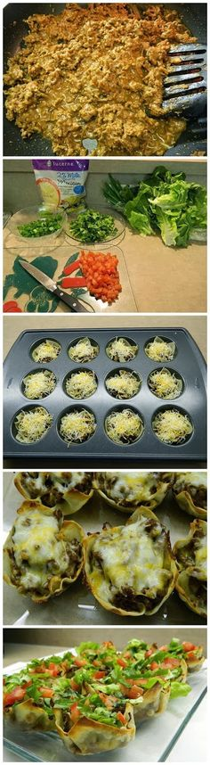 Wonton Taco Bites Recipe Ingredients: Wonton wrappers Taco meat Shredded Mexican cheese blend Lettuce Tomato Green onion Sour cream (optional) For taco meat 1 lb of ground beef ½ can of refr…