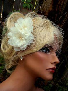 Chiffon double flower bridal fascinator and french net bandeau veil, wedding hair clip, freshwater pearls, Swarovski crystals