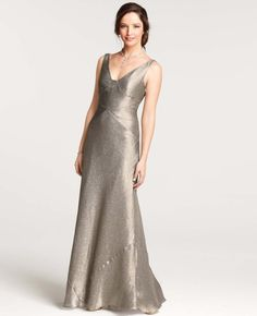 Ann Taylor Gold Lame V-Neck Gown $550.00