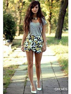 Amazon.com: Choies Women's Multi Lemon Print Asymetric Skorts Vintage Summer Skort Shorts Pants Skirt S: Clothing