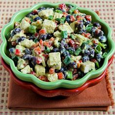 This Chicken, Black Bean, and red Pepper Salad with Spicy Avocado Dressing can be made with leftover rotisserie chicken; this recipe is perfect for any summer holiday party! [from KalynsKitchen.com] #Summer #ChickenSalad