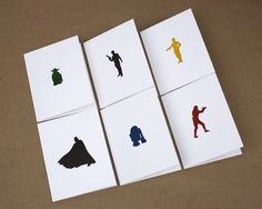 Star Wars Letterpress Cards - Set of 6 - Yoda, R2-D2, C-3PO, Han Solo, Stormtrooper, Darth Vader.