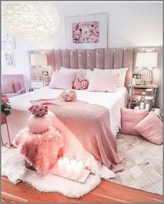 pink room decor Happy Sunday hope everyone had a great day! Make sure to joi. Bedroom Decor For Teen Girls, Cute Bedroom Ideas, Room Ideas Bedroom, Bedroom Wall, Teen Bedroom, Diy Bedroom, Shabby Bedroom, Wall Beds, Teen Decor