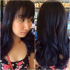Pretty long layers, bangs & textured waves on darkest brown hair! #salonheadcandy #blackhair #bangs #bangstyle #wavyhair