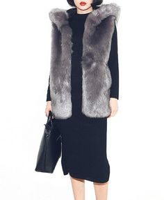 Pure Color Hooded Imitated Fur Vest