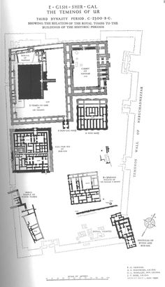 EARLY NEAR EAST ARCHITECTURE, MESOPOTAMIA, 5000-2000 BC - reconstructed drawing of map of Ur, (3rd dynasty) Iraq.