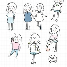 How To Draw People - Cartoon And Realistic - Drawing On Demand Simple Illustration, Children's Book Illustration, Character Illustration, Cartoon Drawings, Cartoon Art, Easy Drawings, Dibujos Cute, Art Anime, Fanarts Anime