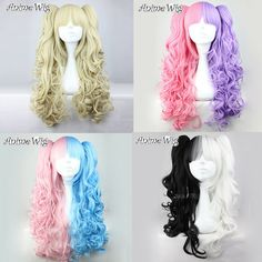 Lolita Fashion Long Wig Cospaly Perruque Bouclée Perücke + 2 cheval Multicolore