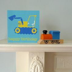 A lovely digger greetings card with the following text:  'happy birthday'  The design matches our Digger Wellies and Raincoat. £1.99