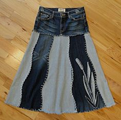 upcycled denim skirts | Cattail River Jeans Skirt Upcycled Denim Skirt by DenimDiva2day