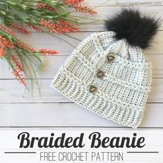 This braided beanie crochet pattern uses the Jacob's Ladder technique to create the look of braids or cables running horizontally around the hat. It is a simple technique that creates lot of design interest. Free crochet pattern from Cute As A Button Crochet & Craft. #caabcrochet #freecrochetpattern #crochetbeanie Diy Crochet Hat, Crochet Beanie Pattern, Crochet Buttons, Quick Crochet, Crochet Crafts, Crochet Hooks, Crochet Projects, Free Crochet, Crochet Patterns